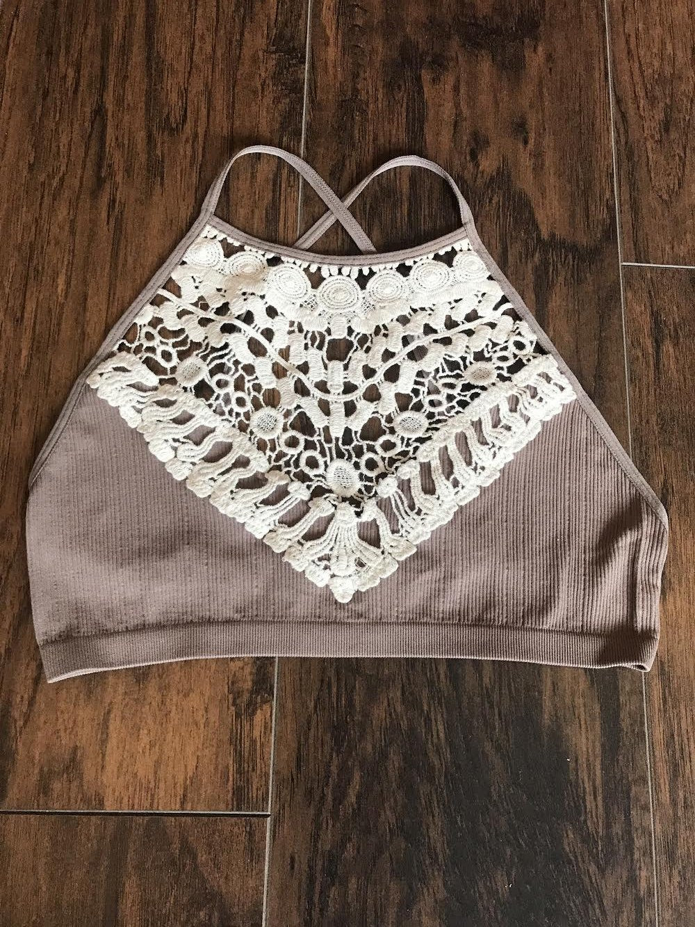 Crochet Lace High Neck Bralette