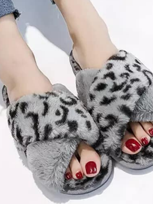 Fuzzy Animal Print Slippers