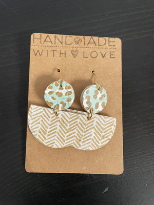 Mixed Print / Shape Leather Earrings