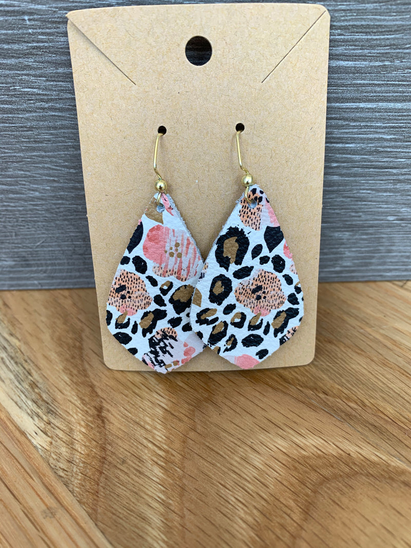 Printed Small Leather Earrings