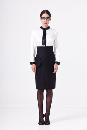 High Waisted Secretary Pencil Skirt