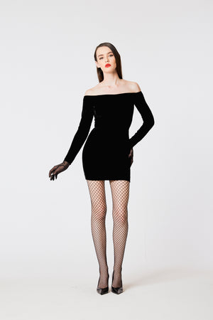 Off-Shoulder Mini Velvet Dress - L'école Des Femmes