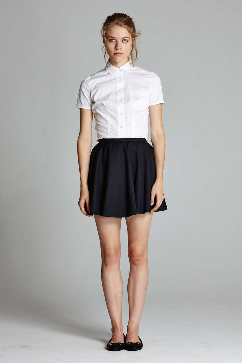 Short Sleeve Peter Pan Collar Button Up Blouse - L'école Des Femmes