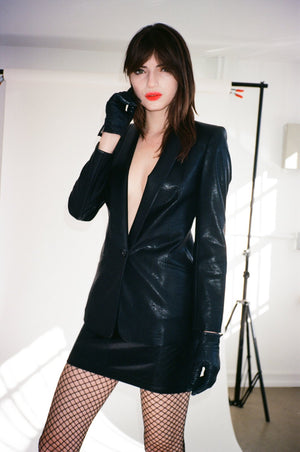 Vegan Leather Smoking Jacket - L'école Des Femmes