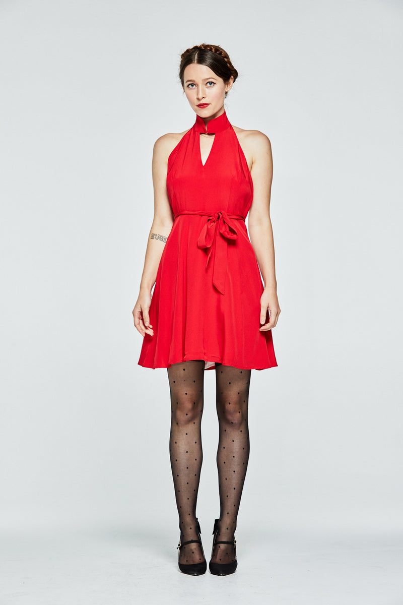 Red Mandarin Backless Dress - L'école Des Femmes