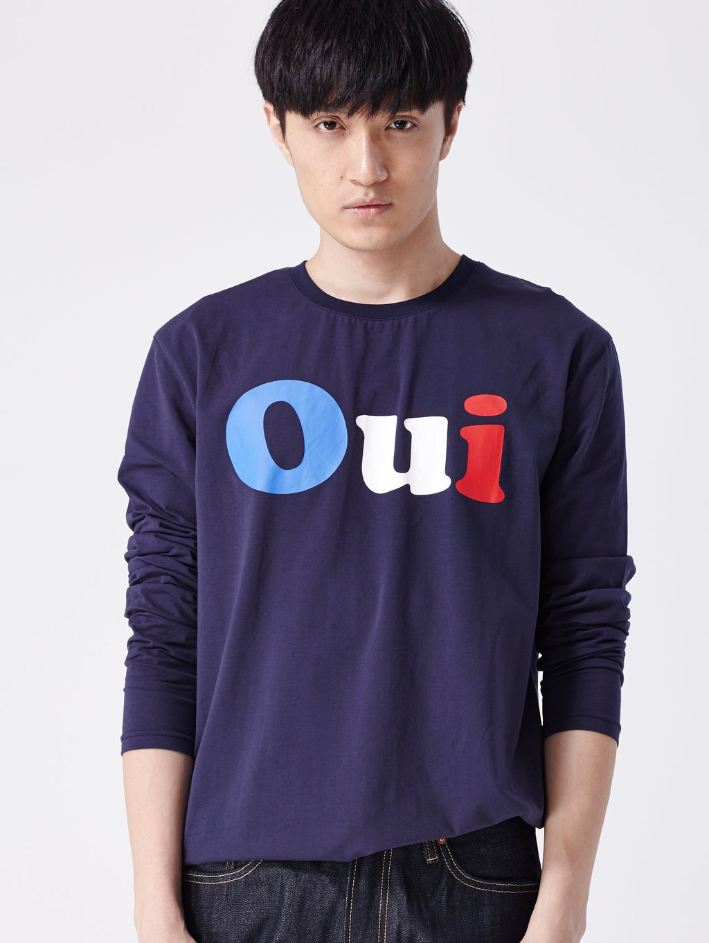 Men's Navy Oui tricolor Long Sleeve Tee