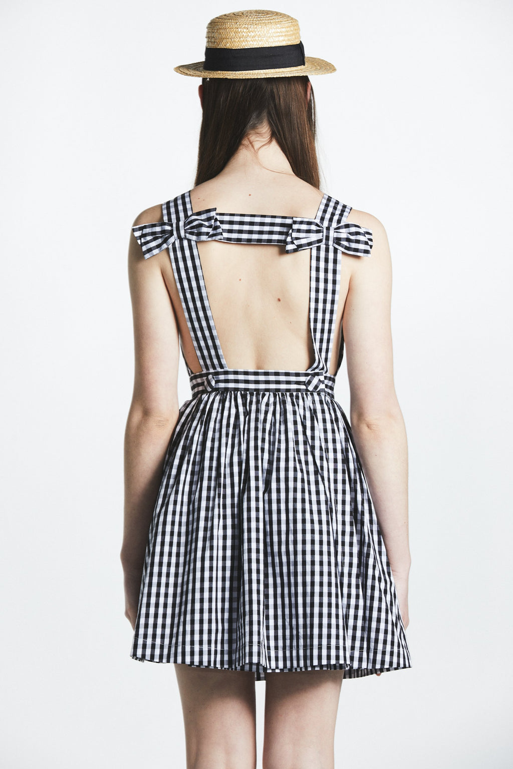 Bow Backless Gingham Dress - L'école Des Femmes