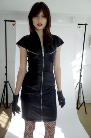 Vegan Leather Moto Dress - L'école Des Femmes