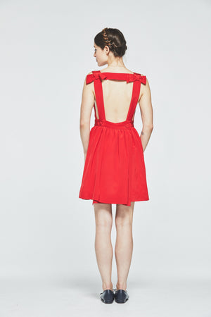 Bow Back Silk Dress (Red) - L'école Des Femmes