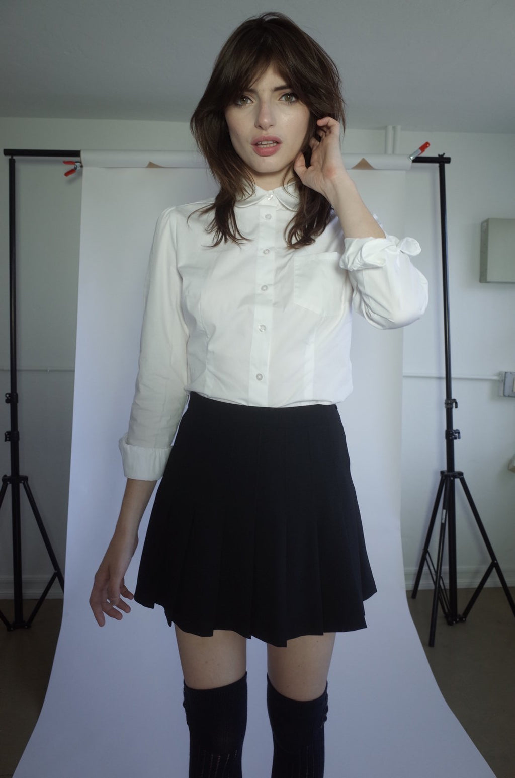 Long Sleeve Peter Pan Collar Button Up Blouse - L'école Des Femmes