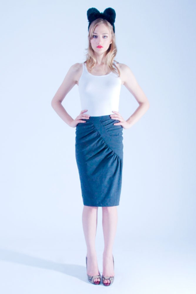 Grey Wool Pencil Stretch Skirt - L'école Des Femmes
