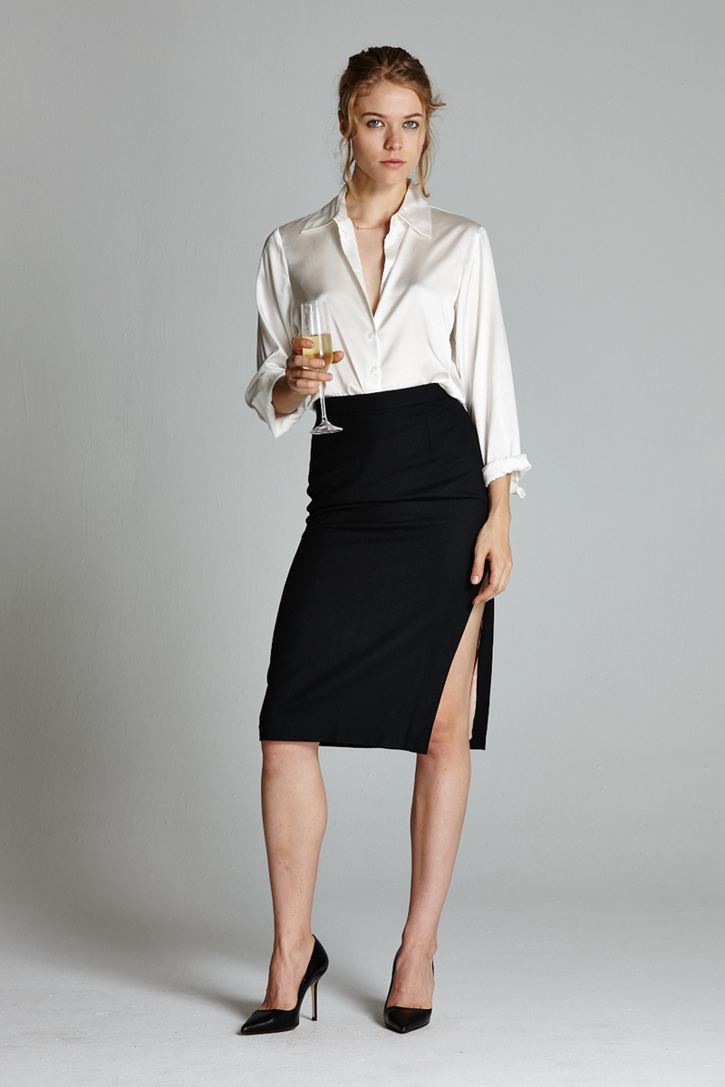 Secretary Side Slit Pencil Skirt - L'école Des Femmes