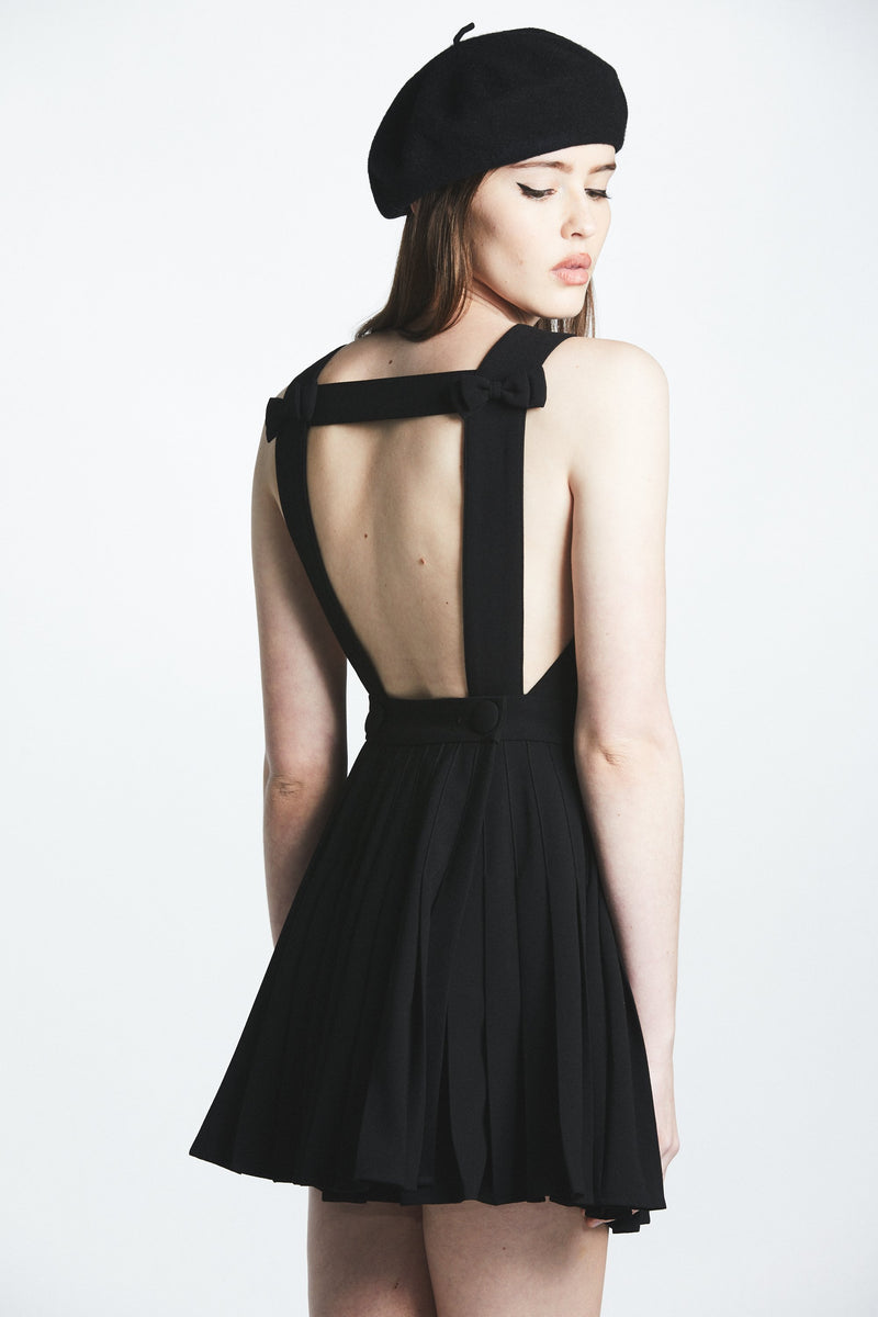 Black Bow Backless Pleated Dress