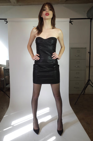 Vegan Leather Strapless Dress - L'école Des Femmes