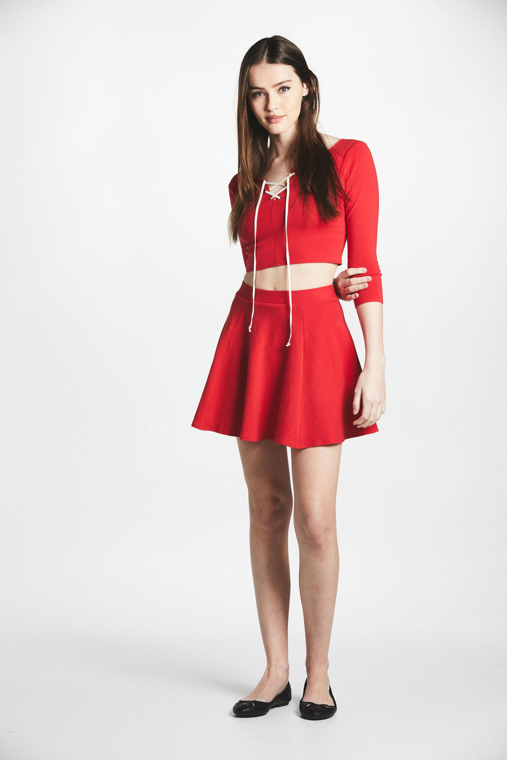 Manara Lace-Up Two Piece (Red) - L'école Des Femmes
