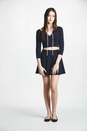 Manara Lace-Up Two Piece (Navy) - L'école Des Femmes