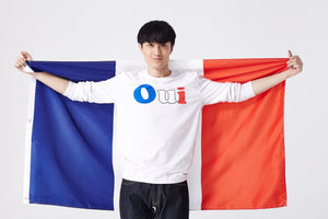 Men's White Oui tricolor Long Sleeve Tee