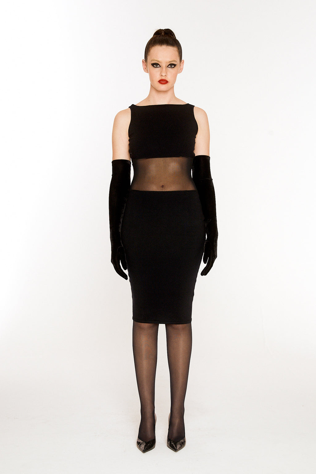 Marilyn Cut-out mesh dress