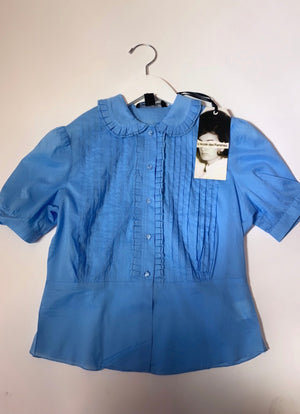 Peter Pan Ruffle Collar Blouse Blue