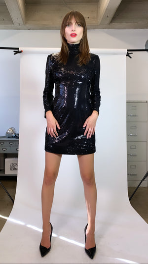 Sequins Turtleneck Dress - L'école Des Femmes