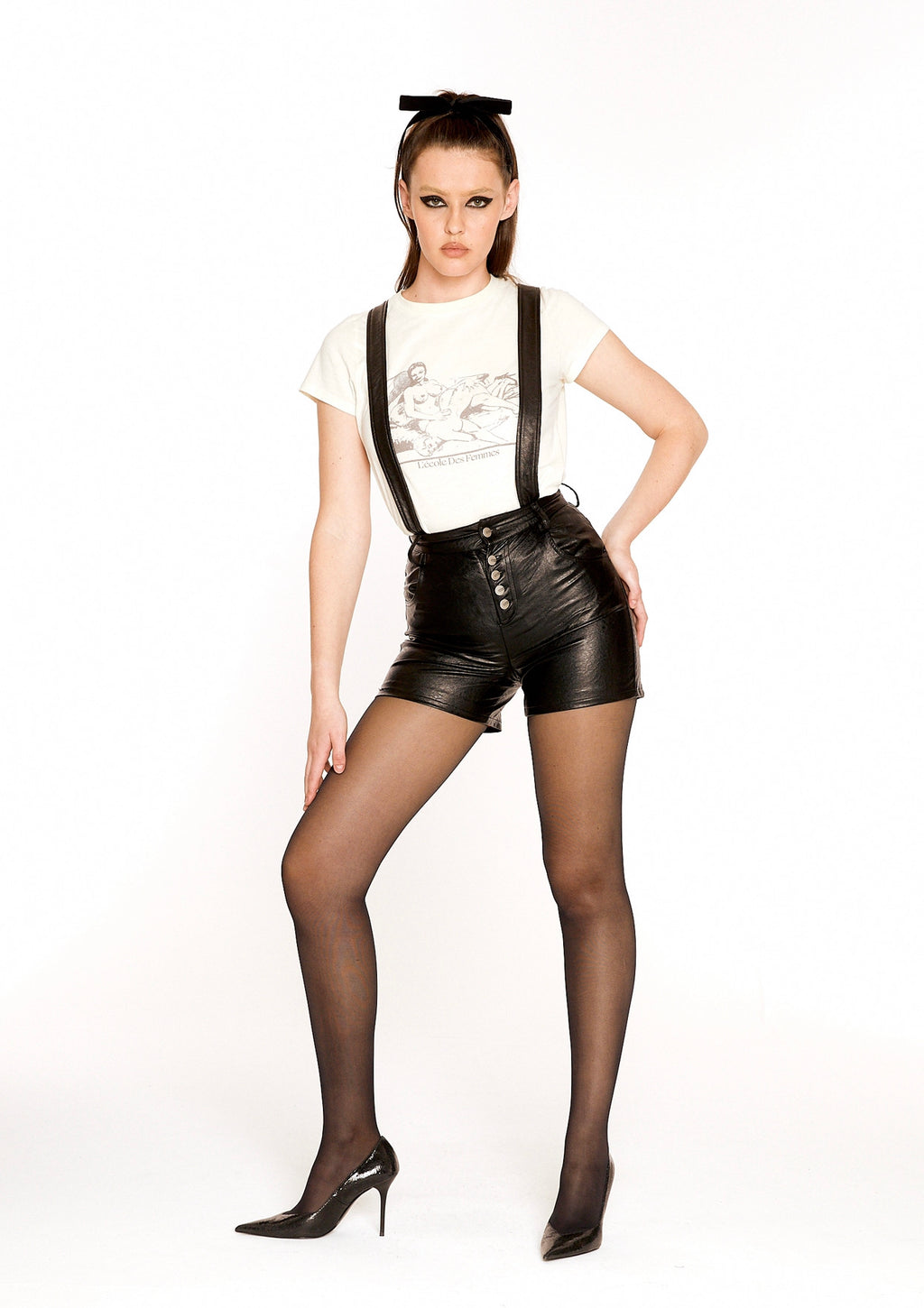 Suspender Leather Shorts