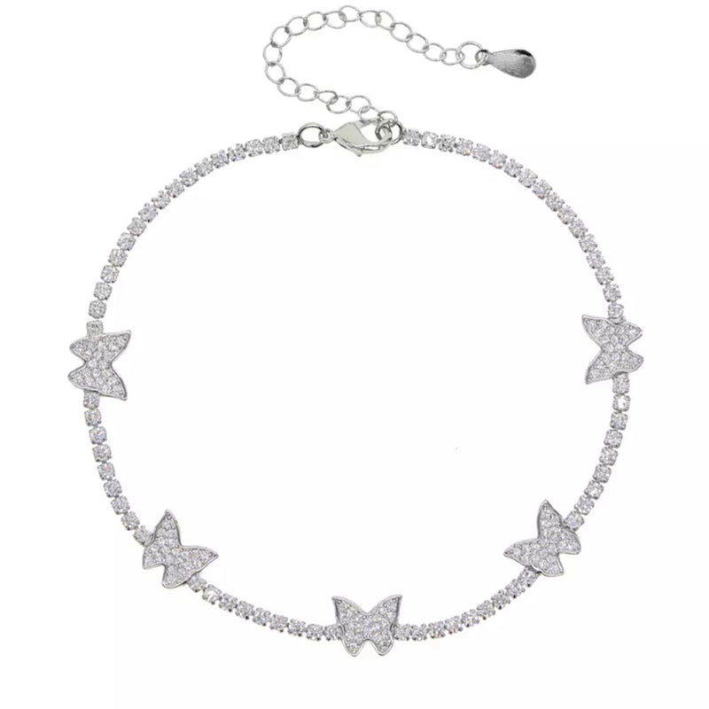 Silver Butterfly Charm Tennis Anklet