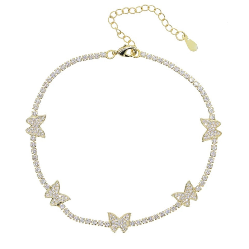 Gold Butterfly Charm Tennis Anklet