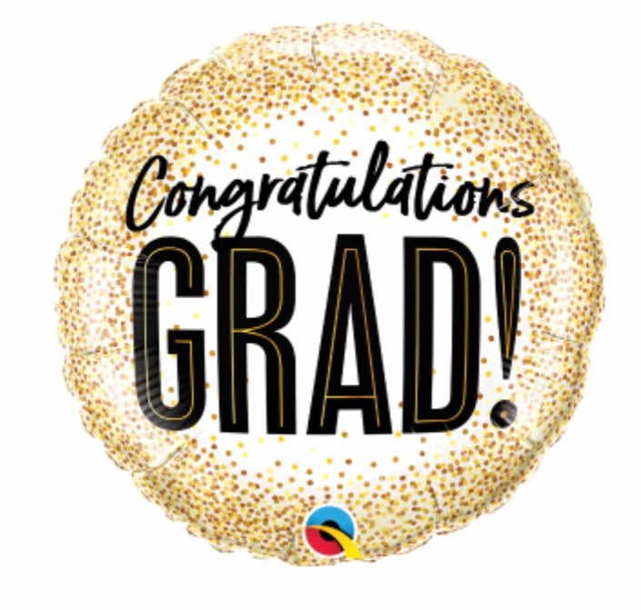 "Grad Gold Glitter 18"" Balloon"