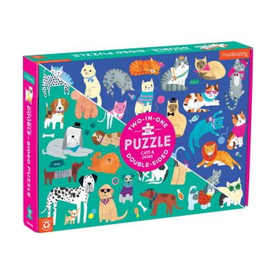 (100 pcs) Double Sided Cats and Dogs Puzzle