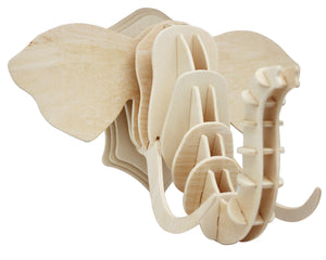 3D Wooden Elephant Head