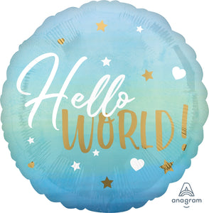 Hello World Blue Foil Balloon