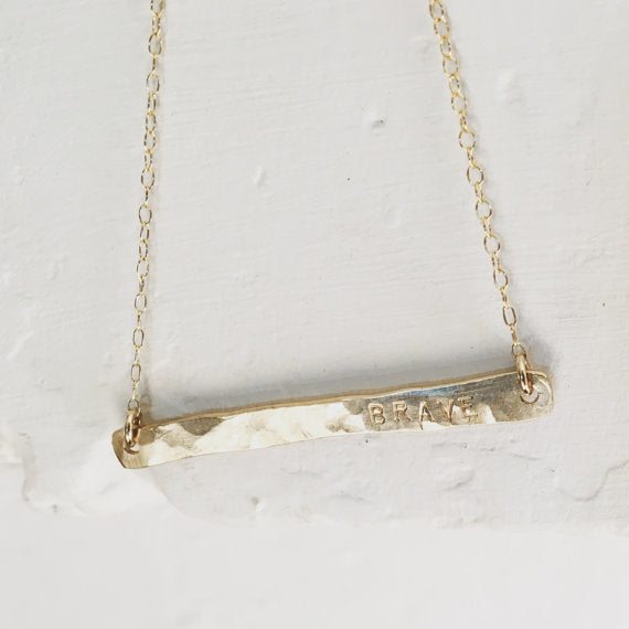 Handcrafted Brave Bar Necklace [Gold]