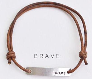 "Hand Stamped ""Brave"" Leather Wrap Bracelet"