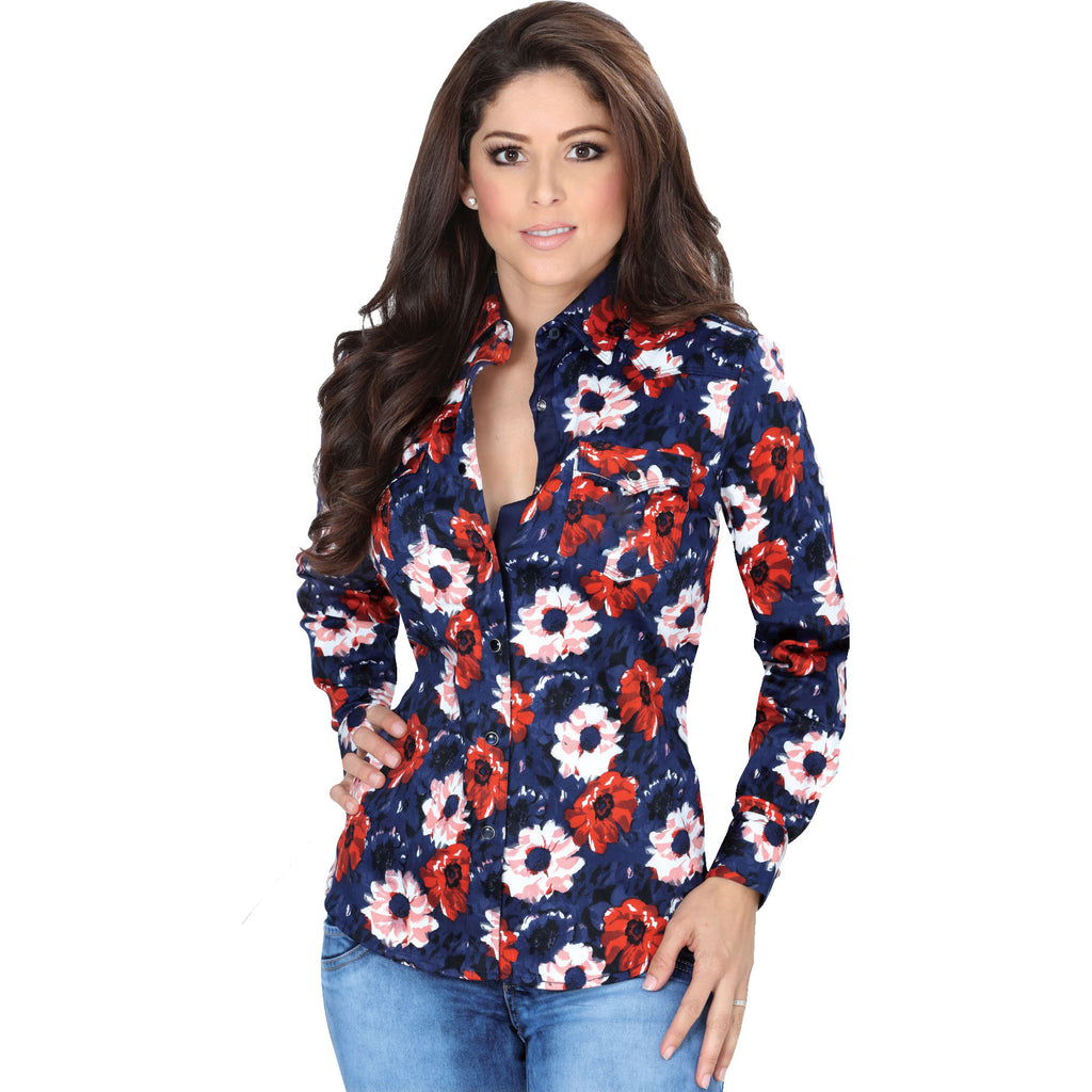 Lamasini - Western Shirts - 205 - Floral Western Shirt with Snap Buttons
