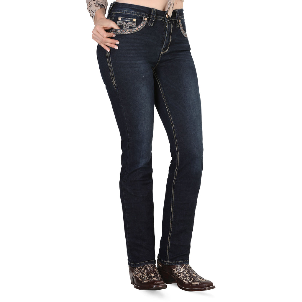 Lamasini - Jeans - 0801 - Embroidered Straight Leg Jeans