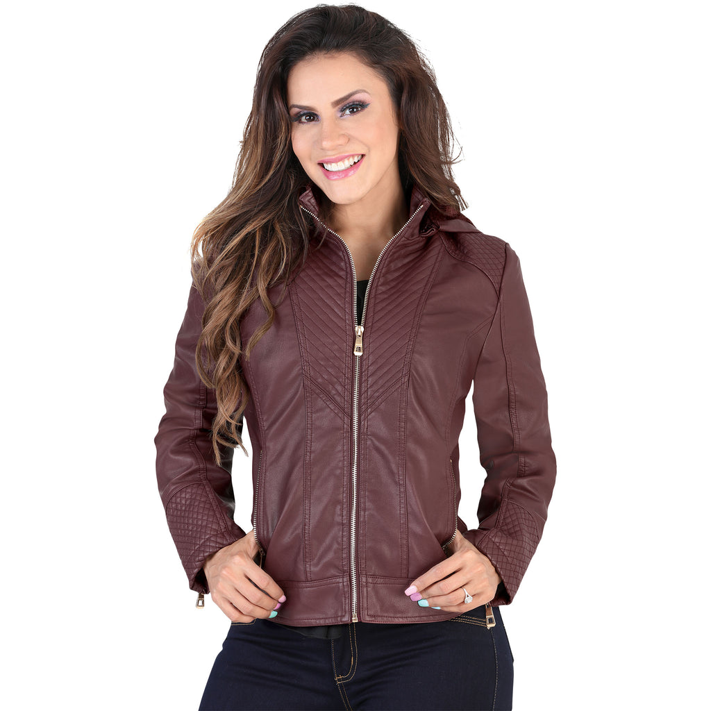Lamasini - Jackets - 1099 - Faux Leather Jacket with Removable Hood
