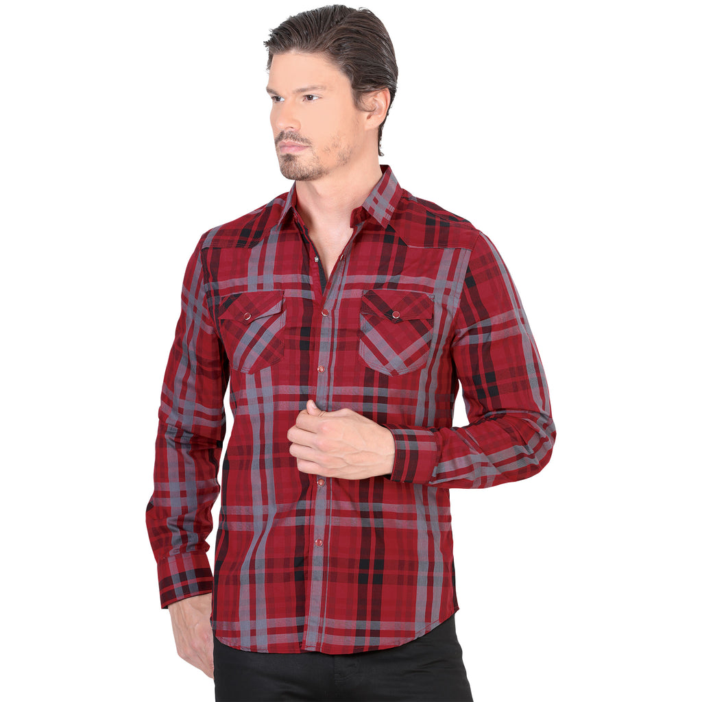 Lamasini - Mens Shirts - 1491 - Plaid Western Shirt