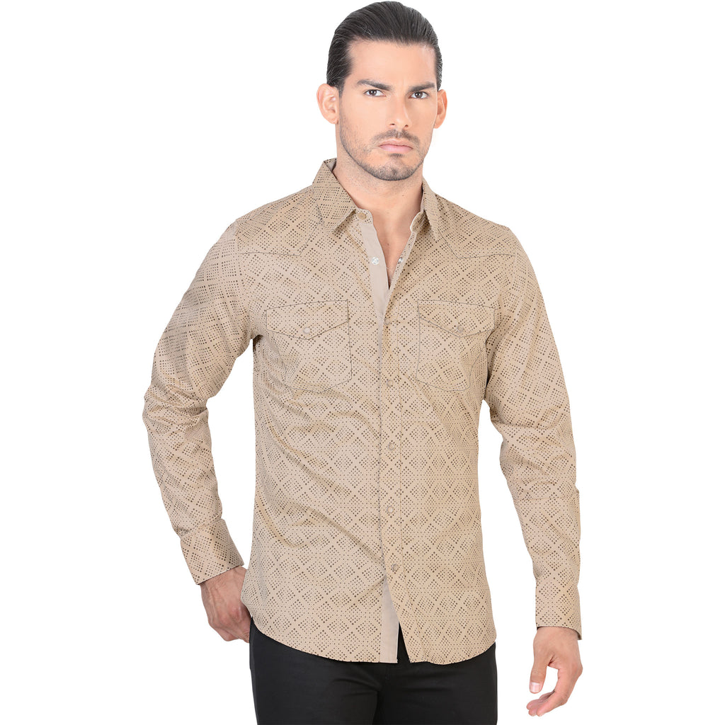 Lamasini - Mens Shirts - 1498 - Long Sleeve Shirt with Snap Buttons