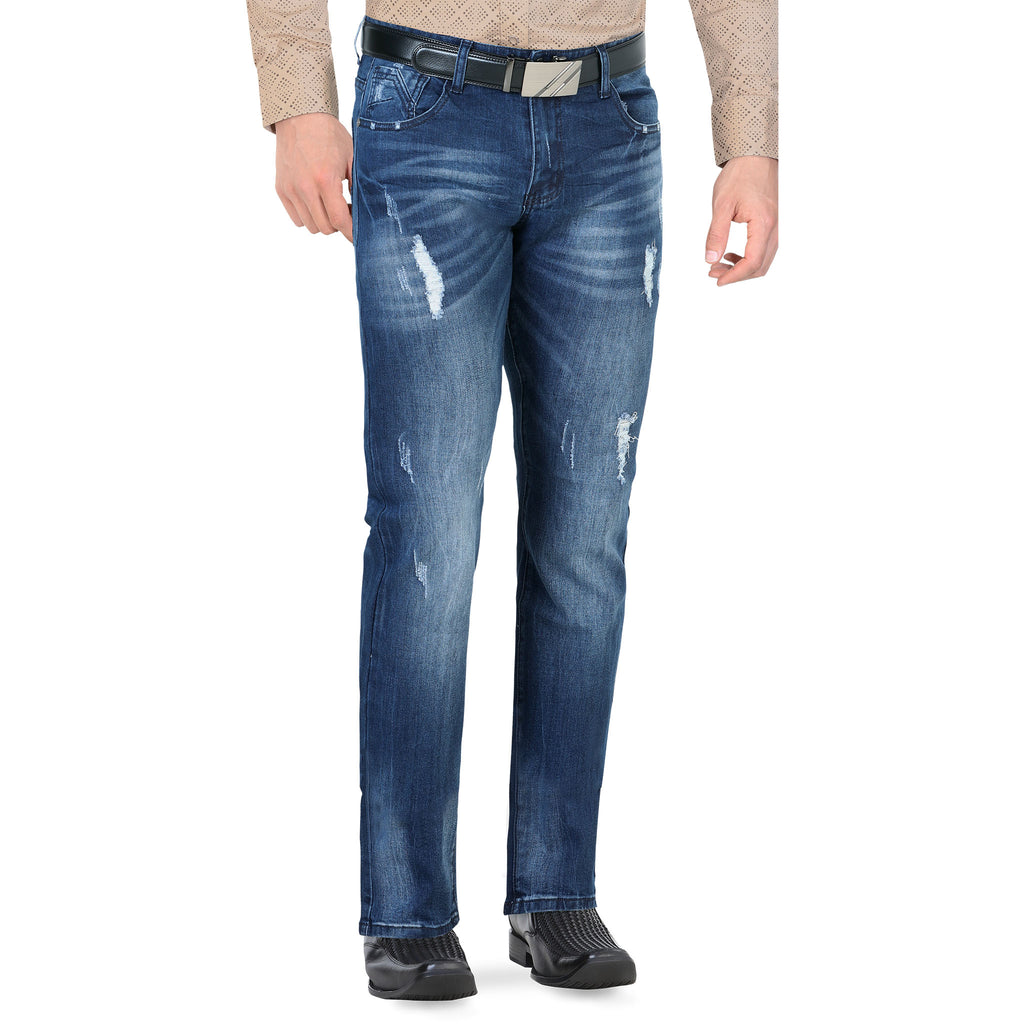 Lamasini - Mens Jeans - 1532 - Distressed Straight Leg Jeans