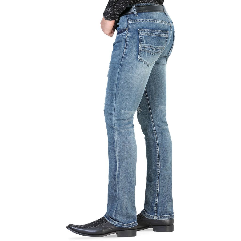 Lamasini - Mens Jeans - 1534 - Distressed Straight Leg Jeans