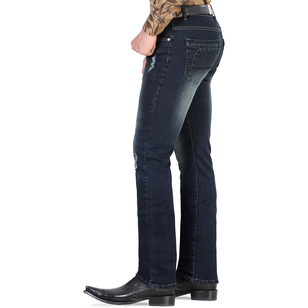 Lamasini - Mens Jeans - 1535 - Distressed Straight Leg Jeans