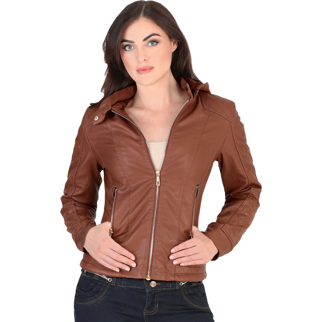 Danesi - Jackets - 4022 - Faux Leather Jacket with Removable Hood