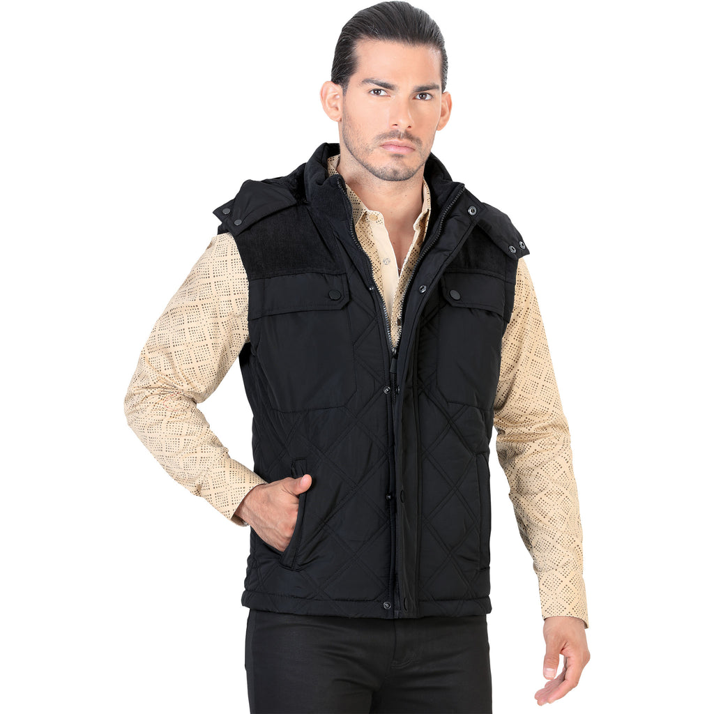 Lamasini - Mens Vest - 538 - Quilted Vest with Removable Hood