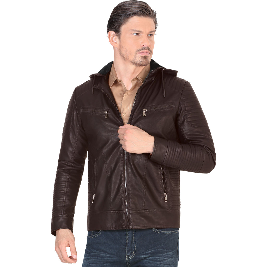 Lamasini - Mens Jackets - 541 - Faux Leather Jacket with Removable Hood
