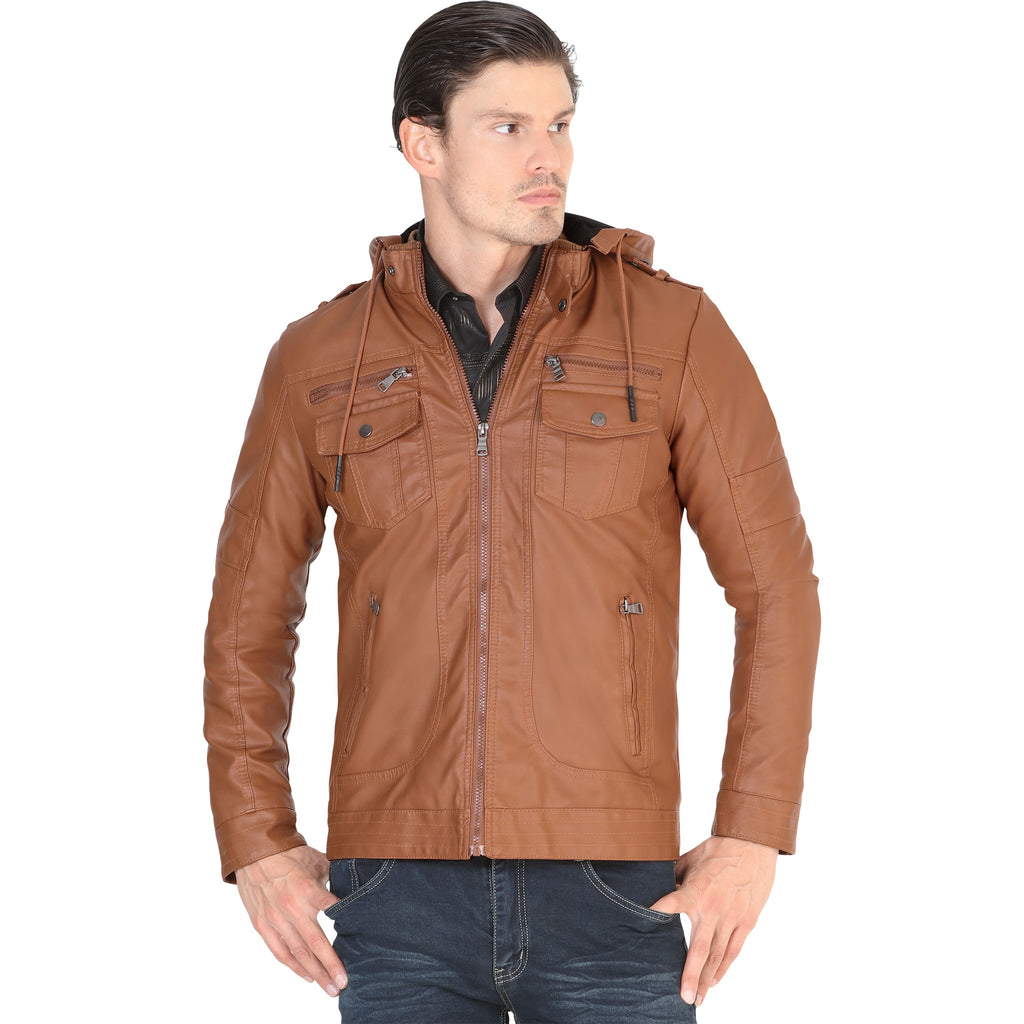 Lamasini - Mens Jackets - 543 - Faux Leather Jacket with Removable Hood