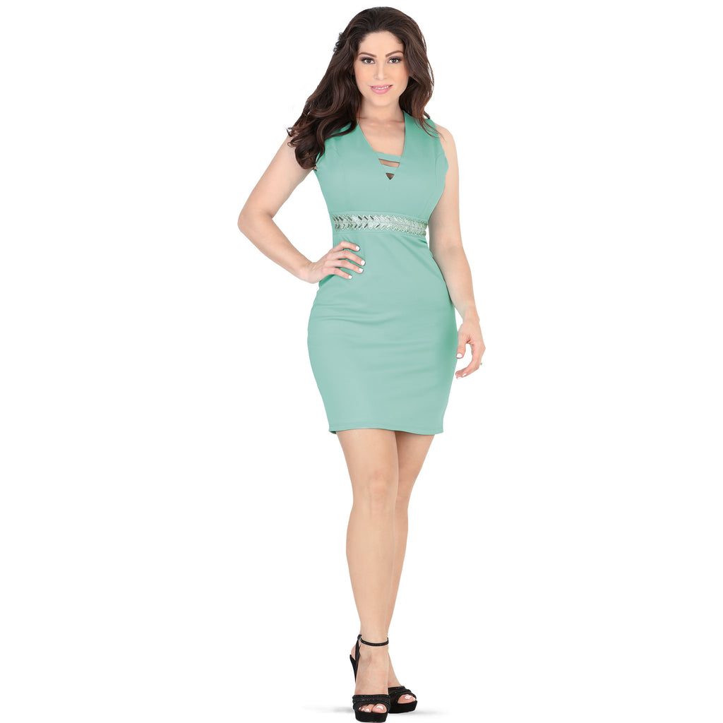 Lamasini - Dresses - 5524 - Sleeveless Mini Dress
