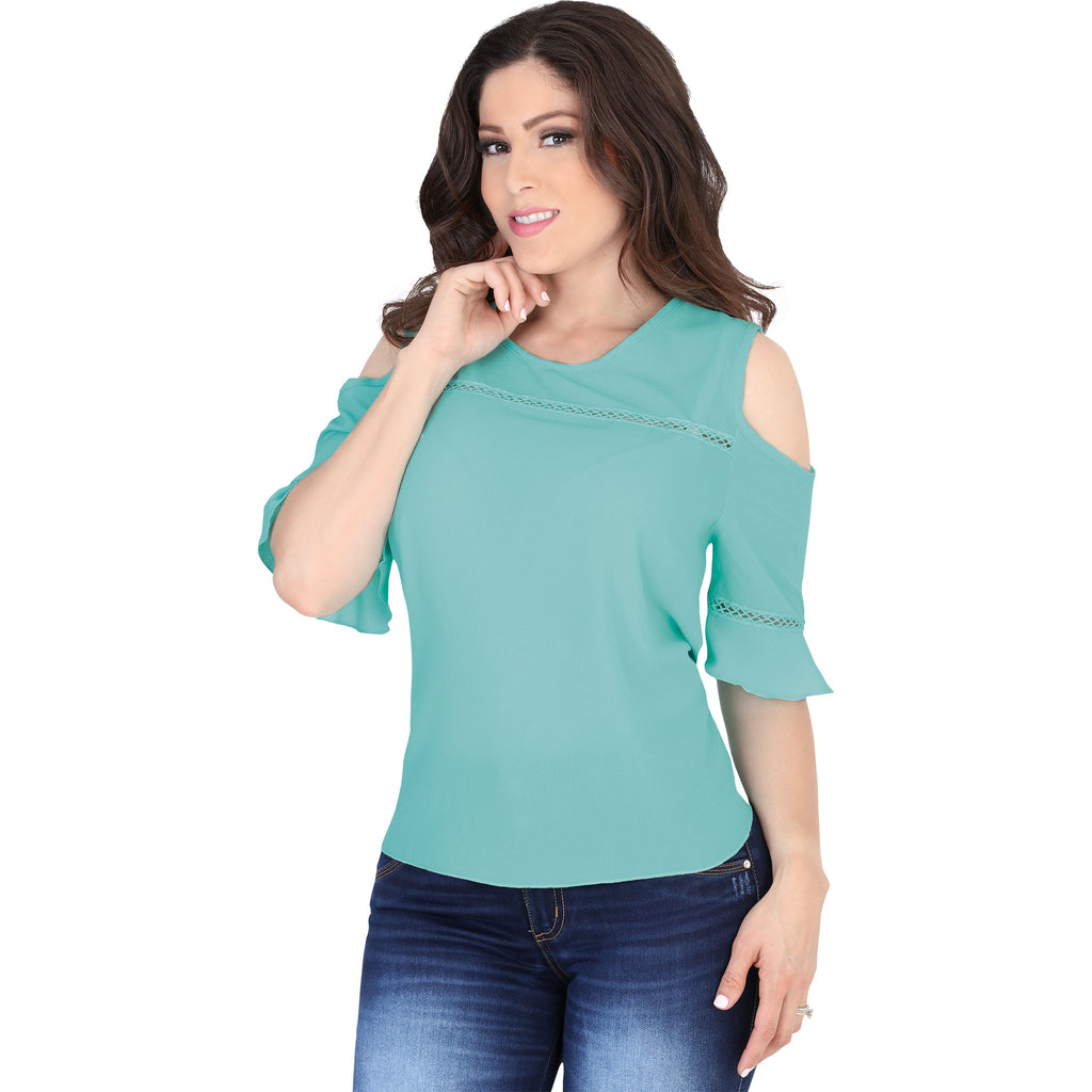 Lamasini - Tops - 5544 - Cold Shoulder Top
