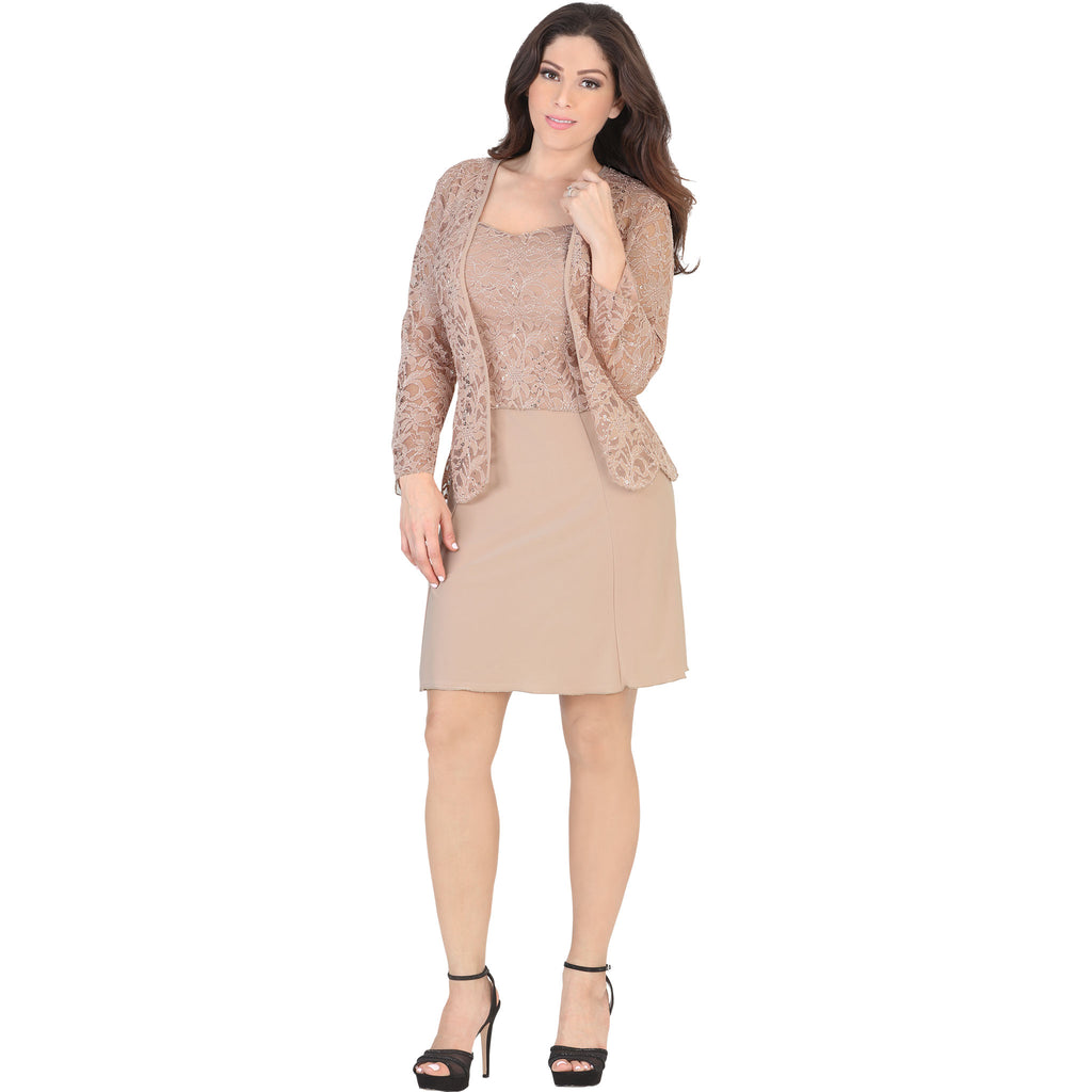 Lamasini - Dresses - 5556 - Lace Mini Dress with Jacket