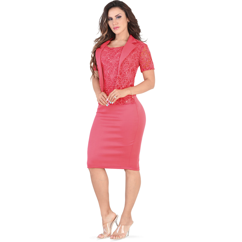 Lamasini - Dresses - 5557 - Formal Midi Lace Dress