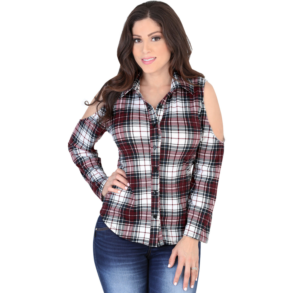 Lamasini - Tops - 5566 - Cold Shoulder Plaid Flannel Shirt